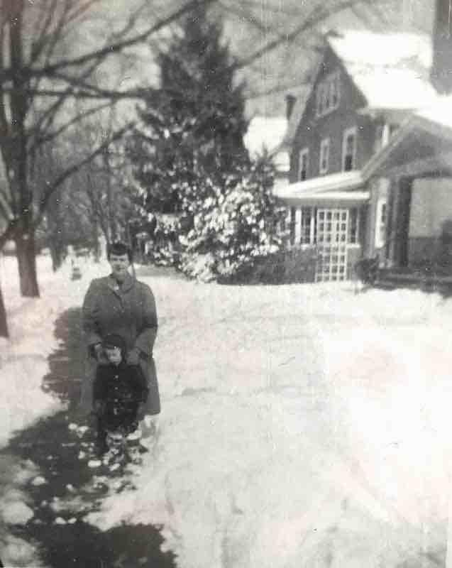 ME AND MOM IN SNOW ON SIDEWALK ON WALKLEY ROAD 800 pixels