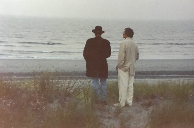 DEKE & ME, LOOKING OUT AT OCEAN, HULL, MASS. 1996