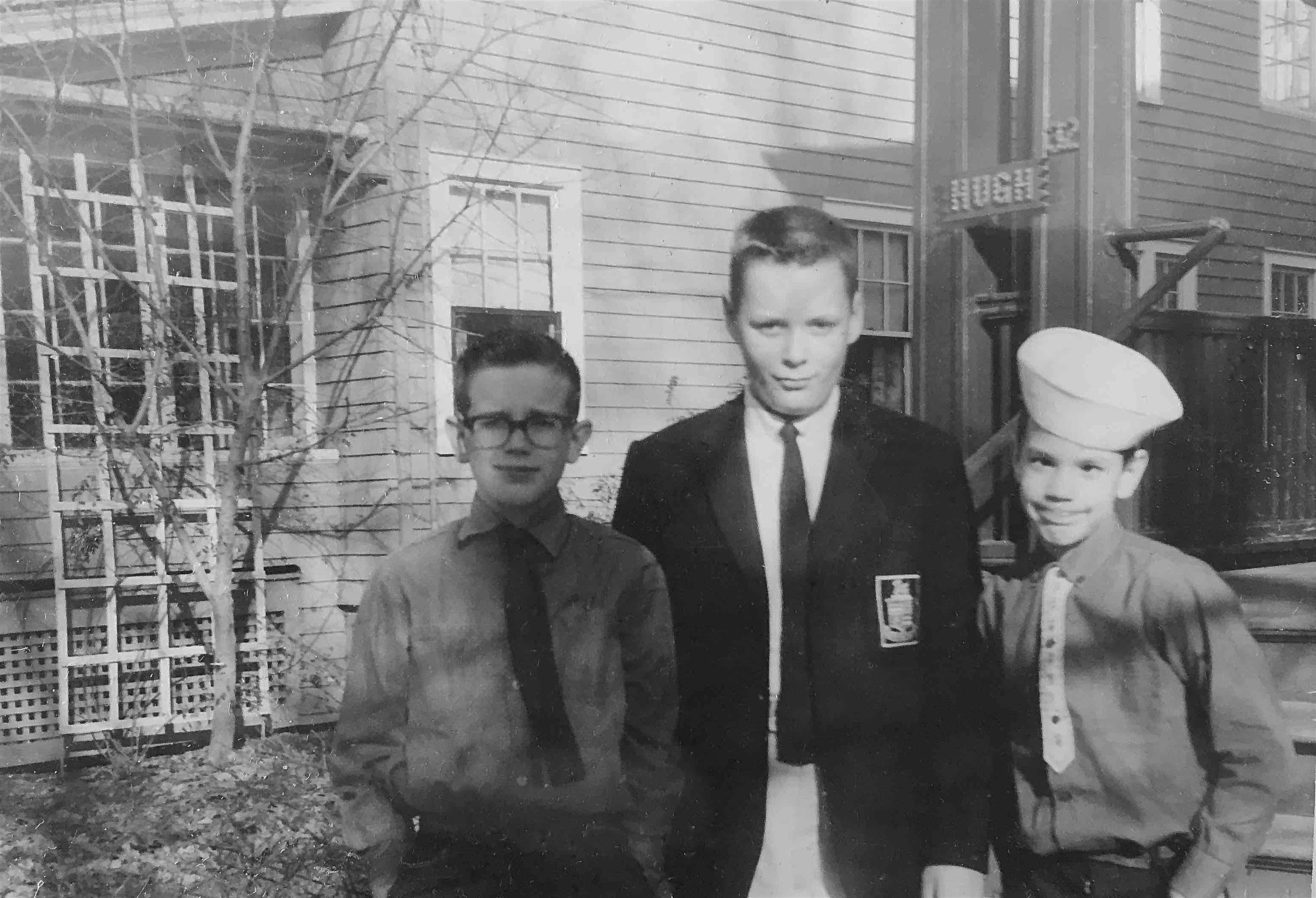 Me, Frank and David in front of 32 Walkley Road, March 1962 copy