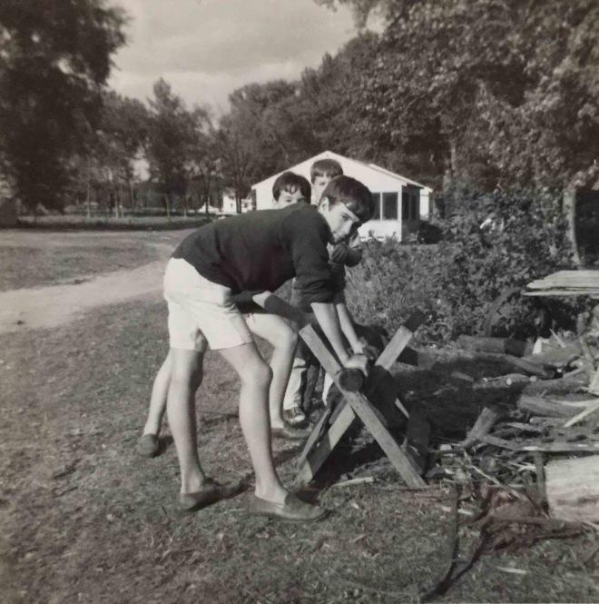 Summer 1964 Isle La Motte, Chopping Wood copy 2